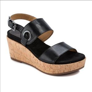 Latigo black leather cork wedges, size 9